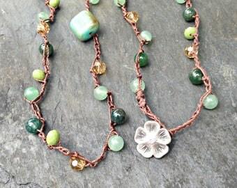 Beaded Crochet Necklace Wrap Necklace, Gemstone Beads, Czech Glass, Boho Necklace, Festival Necklace, Bohemian Style, Beaded Necklace, Vegan
