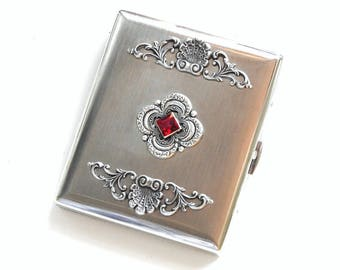 Cigarette Case for Women Red Swarovski Crystal Cigarette Case Silver Victorian Cigarette Case King Size Cigarette Holder Vintage Style Case