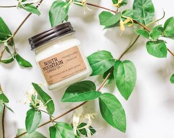Honeysuckle Jasmine | Handmade Soy Wax Candle | 8 oz. Mason Jar Candle | North Mountain Candle Co.