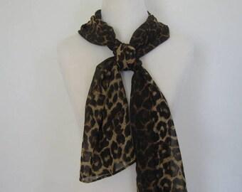 Vintage 1970's Leopard Print Scarf Oblong