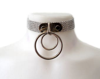 Moon Choker. Double Ring Collar. Rhinestone Choker. Diamond Collar.
