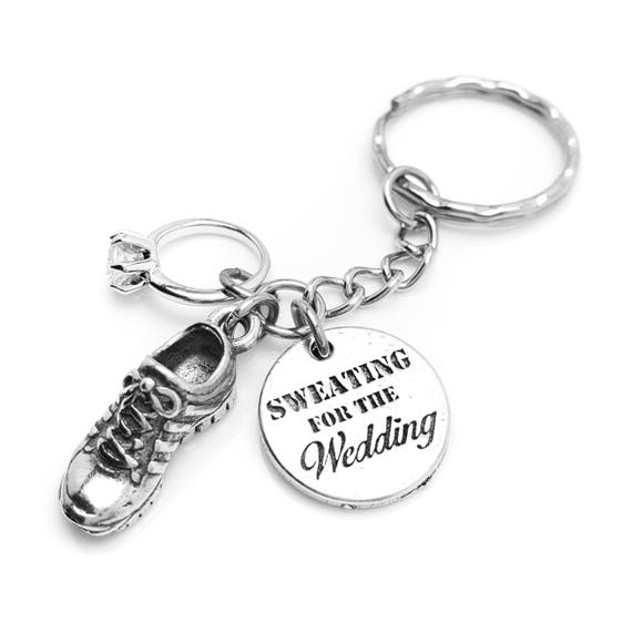 Sweating for the Wedding Running Shoe and Engagement Ring Key Chain - Bridal Shower Gift Idea - Sweating for the Dress - Workout Motivation