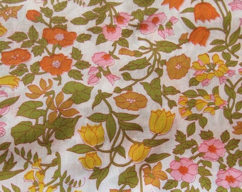 pink, yellow and orange floral print vintage cotton fabric -- 45 wide by 2 yards
