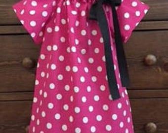 Peasant Dress - Pink and White Polka Dot Dress - Minnie Inspired Dress - Girls size 6 - Ready to Ship by Emma Jane Company