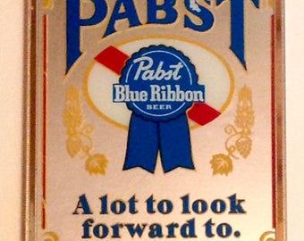 Vintage Pabst Blue Ribbon beer mirror in frame