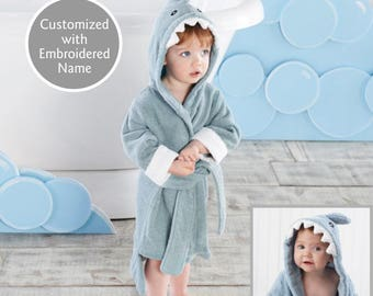 Shark Hooded Spa Robe, Baby Bath Robe, Terry Cloth Robe, Hooded Robe, Baby shower gift, Baby christmas gift, Baby Aspen Robe, Baby Gift