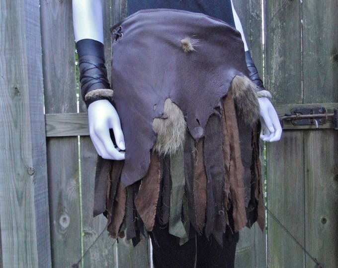 Battle Skirt Leather & Linen Wrap Skirt, Warrior Viking Tribal Style - Brown Leather - Women's S-M