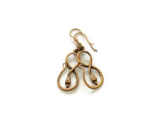 Vintage Bronze Snake Earrings