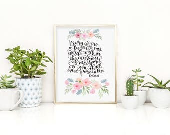 "2018 LDS Youth Theme - ""Learn of Me and Listen to My Words..."" D&C 19 - Original Handwritten Art Available as a Digital Download"