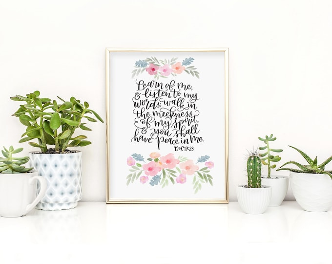 """2018 LDS Youth Theme - """"Learn of Me and Listen to My Words..."""" D&C 19 - Original Handwritten Art Available as a Digital Download"""