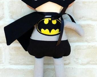 Personalised Bat  Boy / Man Doll Handmade -Superhero - Softie First Birthday Cloth Rag Doll - Child Friendly- baptism - dolly dress up
