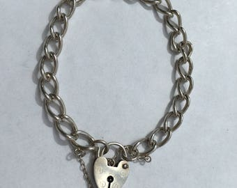 Sterling Silver Charm Bracelet with Heart Padlock, 13.7g - Ready to Fill with Vintage Charms!