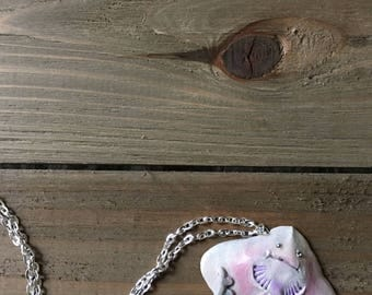 "Happy Little Skate - 18"" silver chain necklace - Made to Order. -similar to a stingray, manta ray, etc."