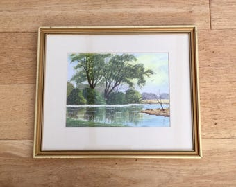 1980s Watercolor Painting of a River in England Signed A Braley Original Art Landscape Home Decor Wall Hanging