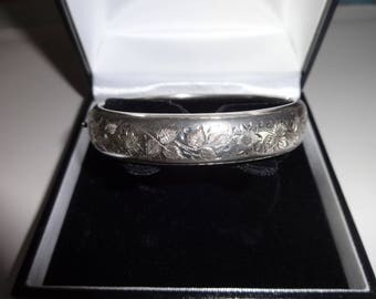 Antique English Silver Bangle with Bright Cut Engraving