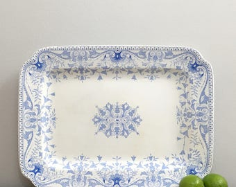 """Large Antique Blue Transferware Serving Platter Tray 18"""" T & R Boote English Ironstone Tournay Blue Design"""