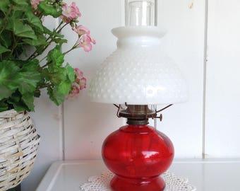 Vintage Clear Red and White Hobnail Milk Glass Kerosene Oil Lamp  Hurricane Lantern