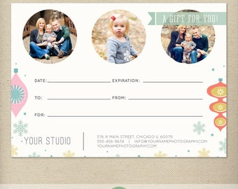 5x7 Digital or Print Gift Certificate, Gift Card, Photography Gift, One-Side, Single-Side, Christmas, Holiday - TEMPLATE - GC2