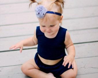 Gray & Navy  Blue Headband for Baby Girl - Lace Tulle Glitter Elastic - Flower Headband - baby headband - girl headband - Grey Wedding