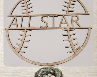 Baseball For Personalization - Laser Cut Wood