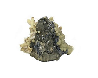 """Pyrrhotite Metallic Ore Crystal """"Magnetic Pyrite"""" with Yellow Quartz and Siderite Crystalline Druzy Mineral Specimen mined in Mexico"""