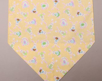 "Easter Bunny Table Runner, Yellow Easter Table Runner, Large 72"" Easter Table Runner"