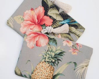Pink Hibiscus & Pineapple Zipper Pouch Bridesmaid Gift Monogram Tropical