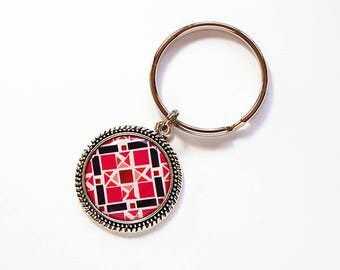Quilting key ring, Pink Quilt Pattern, key chain, keyring, stocking stuffer, gift under 10, gift for her, gift for quilter, quilting (7767)