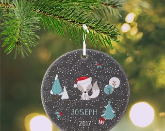Personalized Kids Ornament - Christmas Fox Trees Gift Holly Grey Winter Sprigs , Children Christmas Ceramic Circle Heart Snowflake Star