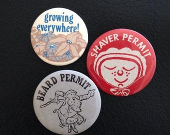 Vintage Pins Buttons Badges Beard Permit Shaver Permit Growing Everywhere