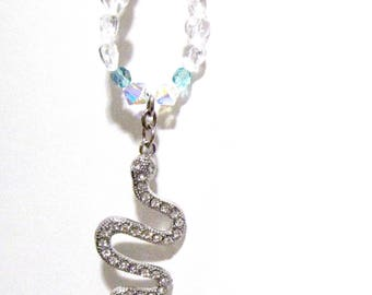 Snake, Rear View Mirror Charm, Truck Charm, Car Charm, Free Shipping, Crystal snake Charm, Crystals