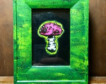 Framed Screen Print and Acrylic Amanita Muscaria