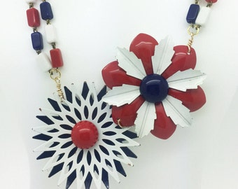 4th of July, Americana, Patriotic, Red, White & Blue Handcrafted Necklace from Vintage Components, Enamel Flowers