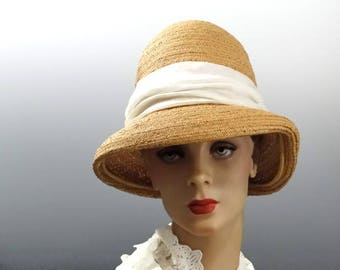 1960's Straw Fedora Mod Tall Crown by Vintage Designer Hattie Carnegie New York