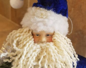 Small Vintage Santa Claus Doll in blue suit Decorative stuffed doll hanging string doll, cute on large Christmas package,