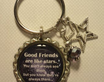 Good friends are like stars quote key chain with charms