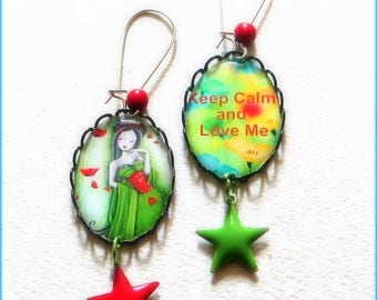 Keep Calm and Love Me! Multicolor earrings