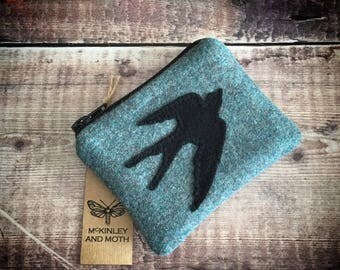 Swallow on British Tweed Coin Purse
