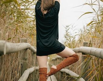 Yoga socks / dance socks / leg warmers / boot socks Orange, very long, knitted comfortable warm Accessories Womengift for yoga legwear