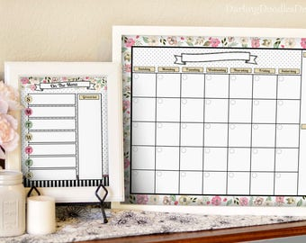 Wildflower Calendar - Floral Calendar - Floral Menu Board - Floral Planner Set - Dry Erase Calendar - Dry Erase Menu - Polka Dot Calendar -