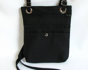 Large hip bag- Black cotton