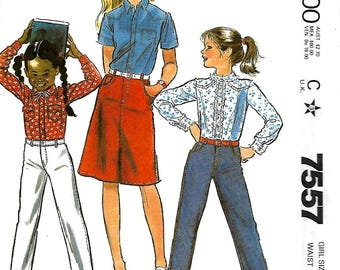 McCall's 7557 Palmer & Pletsch Girls Jeans And Jean Skirt Pattern, Size 7 And 12, UNCUT