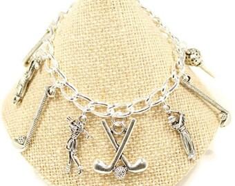 Golf Charm Bracelet  Golf Club Charm Love Golf Gift Golfers Jewelry Sports Jewelry Love to Play Golf Gift Ladies Golf Friends Christmas