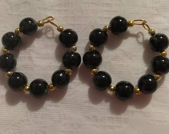 Black/Gold 8MM Bead Gold Hoop Earrings