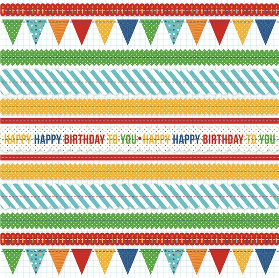 Scrapbook Paper / 12 x 12 Ruffle Paper / KI Memories / Mini Celebrations Collection /Birthday Banners