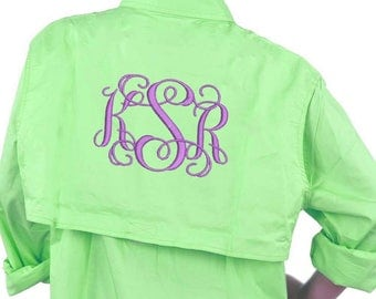 Monogram Fishing Shirts, LONG SLEEVE Fishing Shirt, Men's Fishing Shirt, Monogram Beach Cover Up, Beach Fishing Shirt, Bridal Fishing Shirts