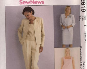 McCall's Sewing Pattern 2619 - Misses' Lined Jacket, Top, Pants, Skirt, and Flower (10-14, 12-16, 18-22)