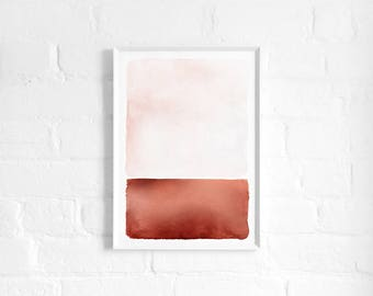 Abstract Rust Landscape A3 Art Print, Blush Pink and Copper Poster, Rothko Inspired Minimalist Art, Light Modern Abstract Art, Wall Decor