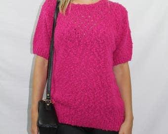 Vintage Bright Pink Short Sleeve Boucle Popcorn Knit Long Sweater Women's Size XS S M