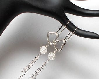 Sterling Silver Hoop With Heart Earring, Sterling Heart Earring, Sterling Long Drop Earring, Sterling With Quartz Earring